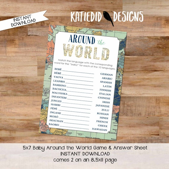 Around the world baby shower game INSTANT DOWNLOAD item 1466 oh the places map world adventure match the language baby translation