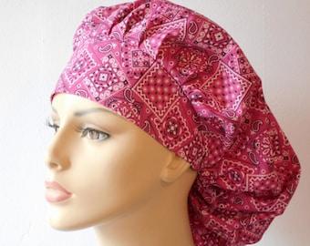 Medical Scrub Hat Pink Bandana Bouffant Scrub Hat Made in the USA