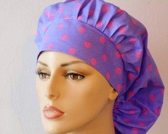 Scrub Hats Bouffant Surgical Scrub Hat - Purple Glitter with Pink Polka Dot  Medical Scrub Hat