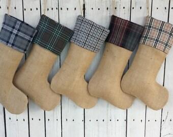 Burlap and plaid Christmas stockings,tartan christmas stockings, dogtooth christmas stocking, personalized stockings, rustic family stocking