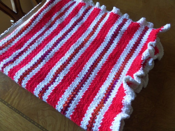 Crochet Lap Blanket Colorful Striped Throw Small Afghan Buy