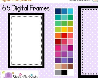 50% OFF SALE Dotty Rectangle Digital Clipart Frames - Instant Download - Commercial Use