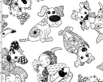 Loralie Designs, Tossed Happy Doodle Dogs, Color Me