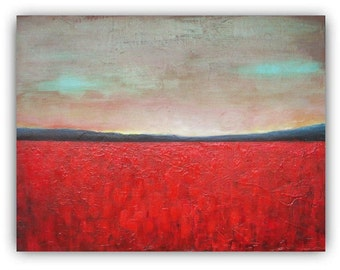 "Sunset Above Poppy Field - Original oil painting - abstract landscape painting - poppies - canvas 16""x20"" - abstract art"