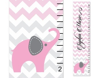 Elephant Growth Chart Children Chevron Canvas Growth Chart Personalized Children Pink Gray