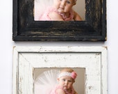 Set of TWO 8x10 Stacked Rustic Barnwood Distressed Rustic Picture Frame-Farmhouse Distressed Frame- Black & White