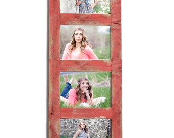 4 hole 5x7 Collage Multi Opening Picture Frame-Rustic Picture Frame-Home Decor Frames-Reclaimed-Cottage Chic-Collage Frame-Picture Frames