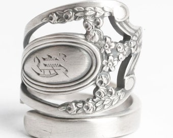"""Royal Victorian Ring, Lunt Monticello, Sterling Silver Spoon Ring, Engraved """"K"""", Handmade Gift for Her or Him, Adjustable Ring Size (6055)"""