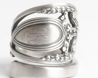 Silver Floral Victorian Ring, Lunt Monticello, Sterling Silver Spoon Ring, Engraved R, Handmade Gift for Her, Adjustable Ring Size (6075)