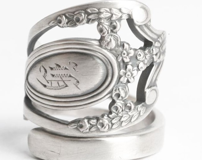 "Royal Victorian Ring, Lunt Monticello, Sterling Silver Spoon Ring, Engraved ""K"", Handmade Gift for Her or Him, Adjustable Ring Size (6055)"