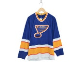 Vintage St. Louis Blues NHL Hockey 1980's CCM Blue Yellow & Red Blank Home Jersey, Made in USA