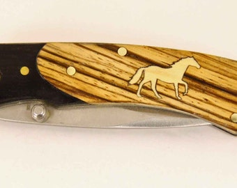 Rough Rider knife with Zebra wood handle and Custom maple horse inlay
