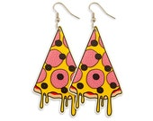 Pizza Earrings - Laser Cut Perspex Acrylic Illustration Funny Quirky Big Statement Pop Punk Food Colorful Bold Edgy Kitsch