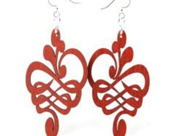 Calligraphy Flower -Wood Earrings