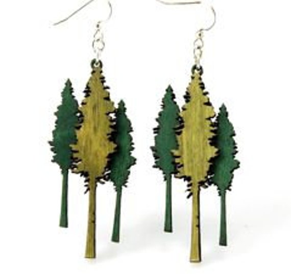 Huge Redwood Trees small enough to hang on your ears - Laser Cut Wood Earrings