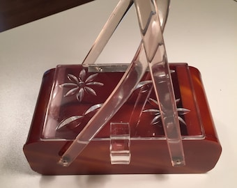 Vintage 50s Lucite Box Purse with Lucite Handles Amber