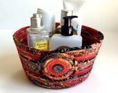 Coiled Rope Basket Clothesline - Red Cranberry Multi Batik - Upcycled Planter - Fiber Art Organizer by Sally Manke
