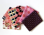 Quiltsy Destash Party - Fat Quarters - 6 Fabric Bundle  - Pink and Navy fabrics by Cotton and Steel - Bundle Lot