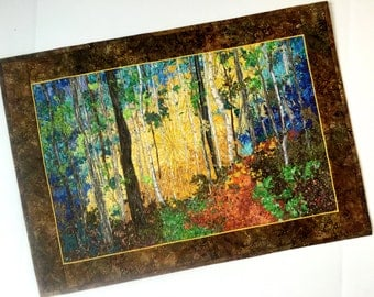 Art Quilt Birch Tree  Sunrise Confetti Fiber Art  Quilted Wall Hanging  Landscape Fabric Wall Decor  Woodland Path  Sally Manke Fiber Artist