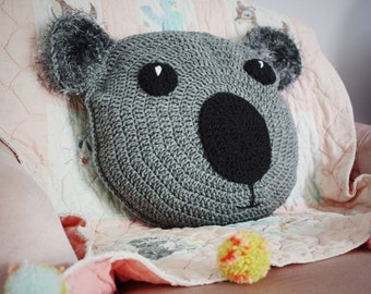 Crochet koala pillow, baby koala, decorative pillow, koala bear nursey decor, baby shower gift