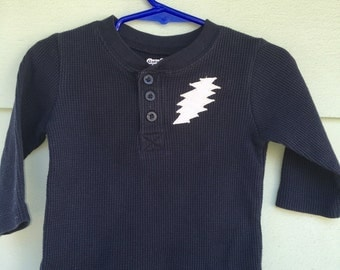 Grateful Baby ~ upcycled long sleeve navy thermal baby Henley, 13 point lightning bolt, 12 months, Grateful Dead, Jerry Garcia, hippie, OOAK