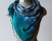 Shibori dyed shawl, fringed scarf, bamboo scarf, blue gray print scarf