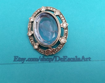 Vintage 1998 Avon glass cameo, recognition AWARD,  silver tone, clear rhinestones, Item No. D506
