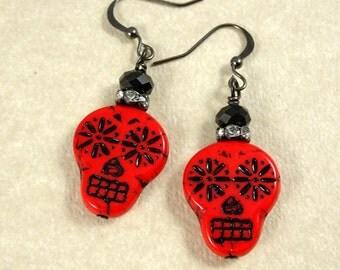 Sugar Skull Earrings - Red and Black Sugar Skulls - Day of the Dead Earrings, Dia de los Muertos - Red and Black Earrings