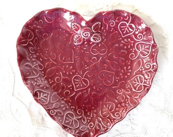 Ceramic Heart Plate - Heart Plate - Red Heart Plate - Valentine Plate - Handmade Heart Plate - Pottery Heart Plate - Heart Plate with Leaves