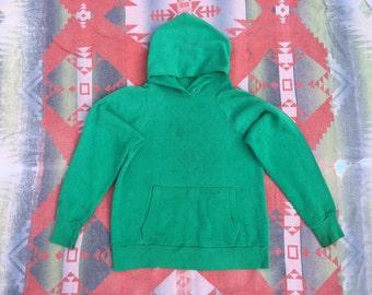 Vintage 70s DISTRESSED Green Hoodie Sweatshirt XS