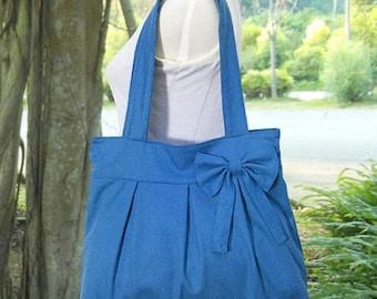 Holiday On Sale 10% off blue cotton fabric purse / tote bag / shoulder bag / hand bag / diaper bag / bow- zipper closure