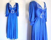 Vintage long sleeve royal blue lace long sleeve nightgown