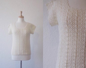 vintage 1960s cream white knitted crocheted  top