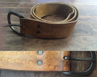 FREE SHIPPING//raw leather handtooled flower belt