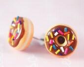 Food Jewelry - Nutella Donut stud earrings hypoallergenic (Surgical Steel)