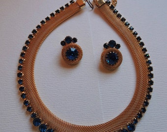 Juliana Gold mesh necklace with sapphire rhinestones and earrings  VJSE
