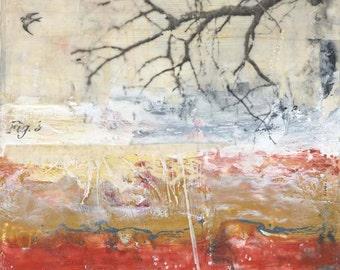 "Original Encaustic Painting, Mixed Media Art - ""As Fast As Possible""  Encaustic Art, Fall Nature Art by Angela Petsis"