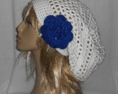 Reserved for Trina - White Slouchy Hat with removable Royal Blue Flower - FREE SHIPPING to US and Canada