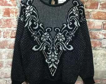 Vintage Sweater 1980's Women's Pull Over Sweater Black & Silver Floral Silver Metallic Sparkle