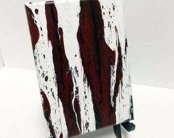 Small drip painting, 5 x 7 inches. red and white black and white handmade wall decor drip painting