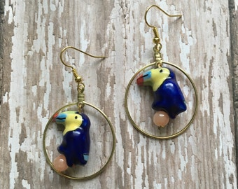 Navy toucan earrings