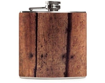 Barn Wood Flask, Personalized Wooden Hunting Guys Gift, Groomsmen Flask, Stainless Steel 6oz Hip Flask