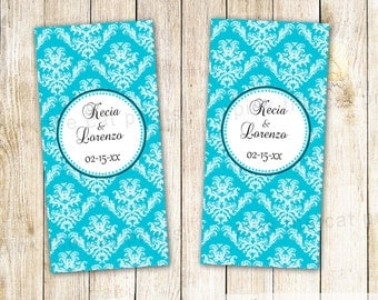 Wedding Candy Label - Bridal Shower Couples Party Favor Mini Candy Bar Wrappers Turquoise Damask Printable Personalized