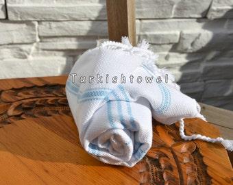 Turkishtowel-Soft-Hand woven,warp&weft cotton Hand,Tea,DishTowel-Twill pattern,Aqua stripes on White