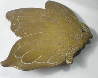 Vintage Brass Metal Butterfly Trivet Brass Accent
