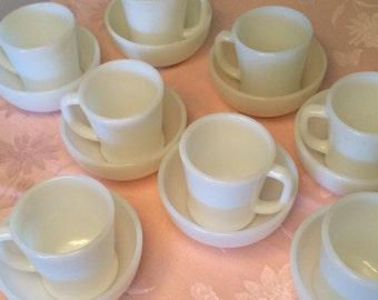 16 Piece Elegant Pure White Bowls And Mugs D Handle By FIREKING Pure Milk Glass Chip Free Mugs