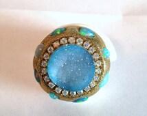 SALE Blue Druzy and fiery ethiopian Opal shell ring