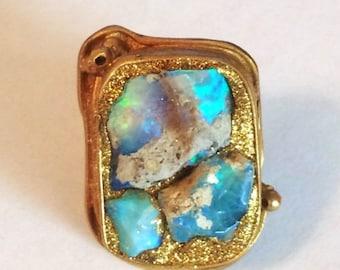 SUMMER SALE Fiery raw opal ring