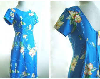 70's Hawaiian Hostess Gown, Tiki Maxi Dress In Blue Orchid Floral Pattern, by Island Fashions, Size Small to Medium