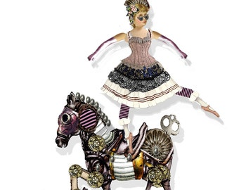 printable vintage Circus paper doll Steampunk ballerina articulated doll craft project collage sheet